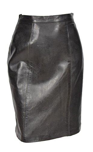 House of Leather Damen Echtes Leder Knielänge 22inch Bleistiftrock Verein Büro Freizeitkleidung SKT1 Schwarz (EU 42)