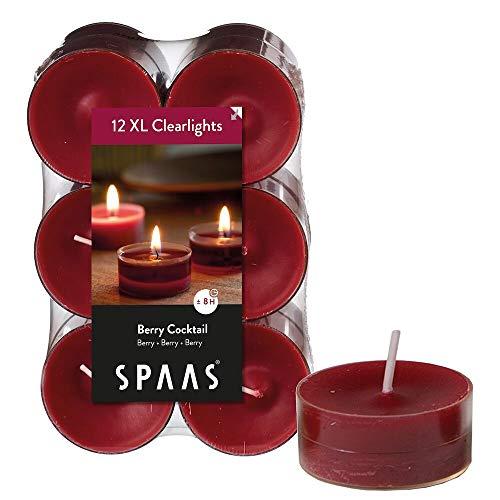 Spaas - 12 Velas de té perfumadas en Vaso Transparente, Cera de parafina, plástico, Rojo Vino, 56 mm de diámetro x 21 mm de Alto