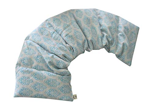 Microwavable LOVEwrap Neck & Shoulder wrap - Unscented 6 x 24 - Flax Seed - Soothes Muscle Ache Pain Relief - Natural Soft Cotton - Warming Muscle Relaxation - Blue White Paisley