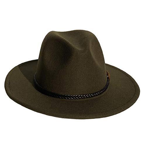 Xiang Ru Sombrero de lana para hombre y mujer, elegante, de ala ancha, estilo Panamá Trilby, sombrero de fieltro con banda Jazz Cowboy Cap, Hombre, XR01116-20081ba, Color verde puro., Talla única