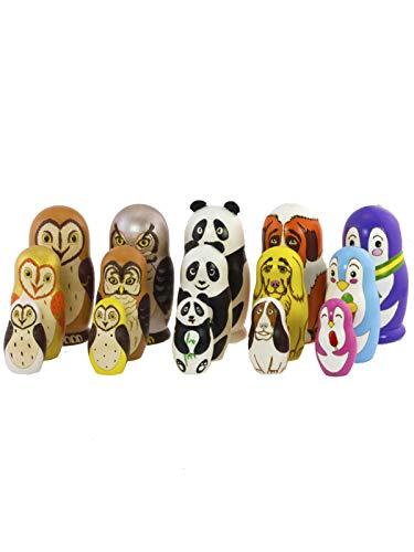 Azhna lote de 5 juegos de 3 piezas 10.5 cm animales Matrioska anidación muñeca recuerdo decoración del hogar colección muñeca rusa de madera pintada a mano (Multi)
