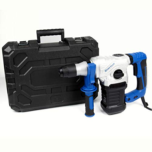 1500W Rotary Hammer Drill Breaker SDS Plus Drill 6 Variable Speed Triple Functions for Wood Masonry Concrete Metal w/360° Rotate Handle, SDS Plus & SDS Bits Set & Storage Case, 230-240V