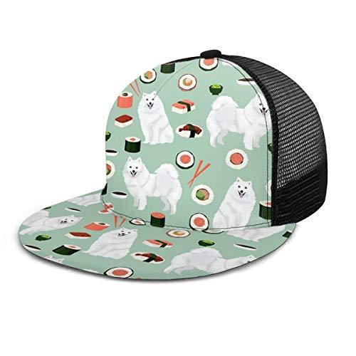 Gorra de béisbol Japonesa Spitz Sushi Samoye para Perro, Unisex, 3D, Hip Hop Snapback, con Visera Plana, Gorras de béisbol, Color Negro
