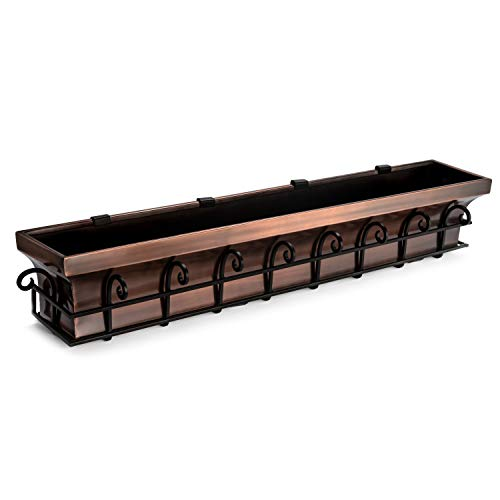 H Potter Window Planter Box Copper Outdoor Flower Plant Container for Windows Attach to House Deck Balcony Long Rectangular Shape 48 Inch Length GAR514B