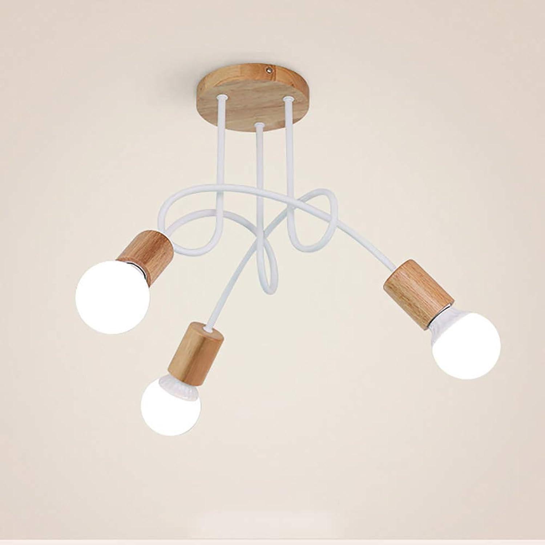 L.HPT 3 5 Lumières plafonniers Modernes, Lampes en Bois de Fer Suspendu Lampes appareils d'éclairage en Bois pour Les corridors de Chambre à Coucher Salon,blanc,5heads
