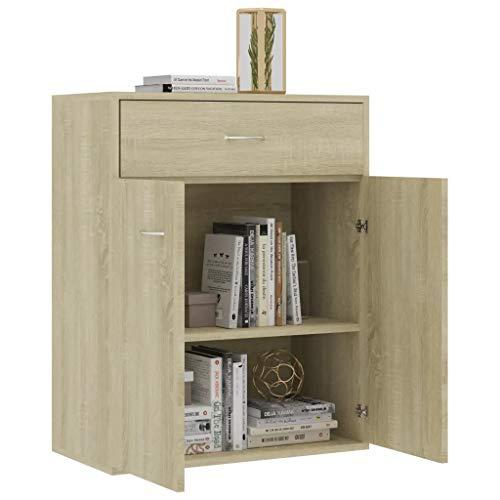 GOTOTOP - Aparador de madera 60 x 30 x 75 cm aparador con 2 puertas y 1 cajón, cómoda cajonera baja, mueble de servicio para exponer objetos decorativos, roble Sonoma