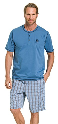 Otto Kern Herren Pyjama mit kurzer Hose 100{012fc0a0f5f8dbaa6893051374a962d05ce23471761bb8e4eaf4c54811bd32a6} Baumwolle I Kurzarm Shirt mit Knopfleiste I Bermuda mit Seitentaschen & Knopfleiste Webkaro I Blau I Gr. 52 (L)
