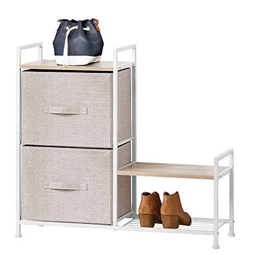 mDesign Estantería organizadora con dos cajones de tela – Cómoda metálica con baldas de madera – Organizador con...