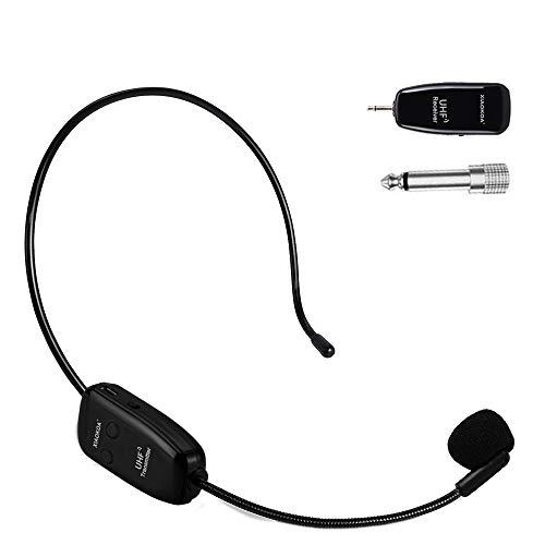 XIAOKOA wireless microfono,UHF Microfono Senza fili, 50 m Di Trasmissione Wireless,Archetto e Palmare 2-in-1,per Guida Turistica/Insegnamento/Promozione/Discorso