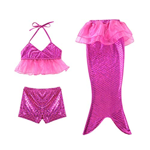 wetry - Mädchen Cosplay Halfter Hals Bademode Meerjungfrau Shell Badeanzug 3pcs Bikini-Sets