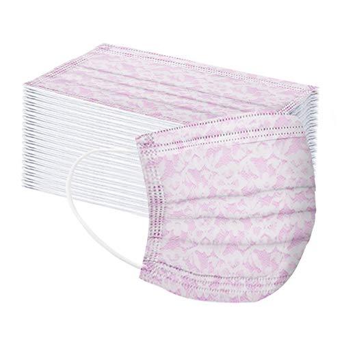N/S 3 Schichten Erwachsene Mundbedeckung für Damen Herren, Schnüren Drucken Einmalgebrauch Anti-Staub Plissee Nasenschutz für Drinnen und Draußen, Nasen und Lippen Schutz, 50er Pack, Lila
