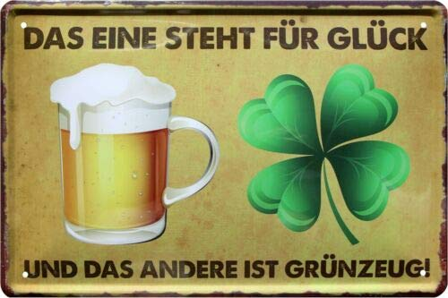 Bier und Glück 20x30 cm Blechschild 250