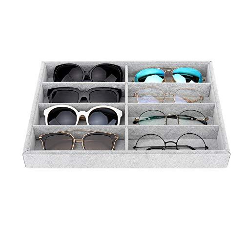 Emibele Organizador de Gafas, 8 Rarunas de Estuche Caja Soporte para Gafas de Sol, Bandeja de Exhibición de Terciopelo para Guardar Gafas Joyas - Gris Hielo