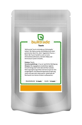 Buxtrade 500 g Taurin – rein/ohne Zusatzstoffe | Pulver | konditionell-essentielle Aminosäure | Nahrungsergänzungsmittel Sport | vegane Nutrition