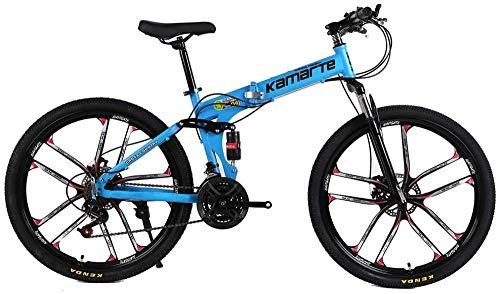 Bicicleta de montaña plegable 21/24/27 Velocidad 24/26 pulgadas Bicicleta con frenos de disco doble y doble suspensión para adultos amarillo de 24 pulgadas24 Velocidad-Velocidad de 24 pulgadas 27_Azul