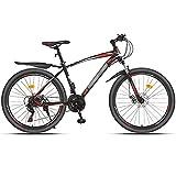 WPW Bicicleta de Montaña con Freno de Disco, Bicicleta de Carretera Ligera, Ciclo de Ruedas MTB de 24 Velocidades para Hombres y Mujeres de 26 Pulgadas (Color : 21-Speed Red, Talla : 24inches)