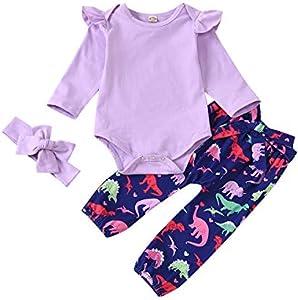 Trajes de niña de 6 a 9 Meses, Ropa de niño recién Nacido, Mono de Manga Larga con Volantes, Pantalones de Dinosaurio con Diadema para Boda