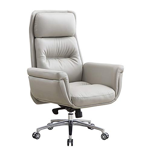 ALVEN Leather Executive Chair, Comfortable Boss Office Chair Ergonomic Computer Desk Chair/Rotatable Computer Chair with Three-stage Backrest,Gray