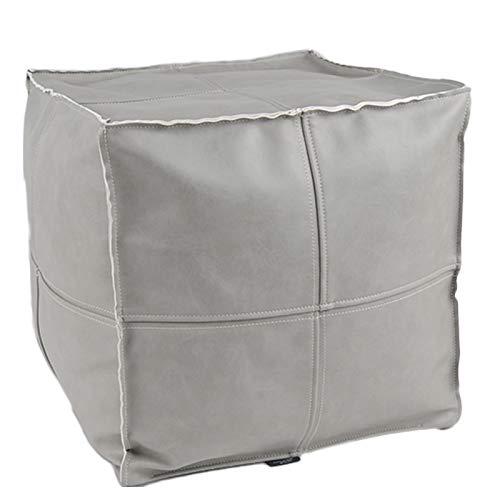 idee-home Marokkanischer Pouf für Wohnzimmer, handgefertigt, Leder-Polsterhocker, Polsterhocker, Aufbewahrungslösung, unbefülltes Leder, 55,9 x 55,9 x 27,9 cm Marokkanisch 16
