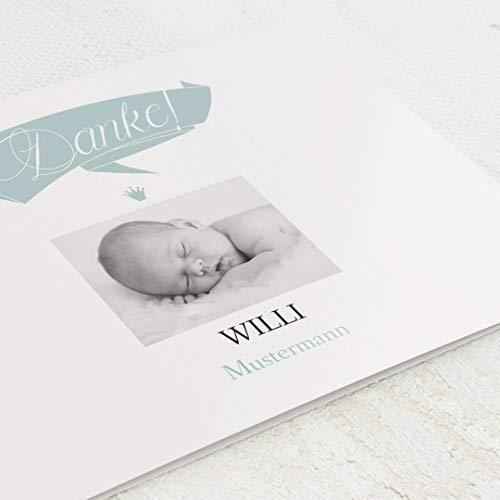 sendmoments Danksagungskarten Geburt, Danke, 5er Klappkarten-Set C6, wahlweise Goldfolien-Veredelung, personalisiert mit Text & Fotos, optional Design-Umschläge