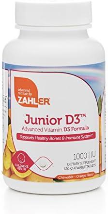 Zahler Junior D3 Chewable 1000IU, Kids Vitamin D, Great Tasting Chewable Vitamin D for Kids, Optimal Vitamin D3 1000 IU for Children,Certified Kosher, 120 Chewable Tablets