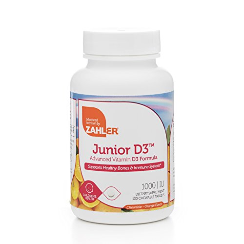 Zahler Junior D3 Chewable 1000IU, Kids Vitamin D, Great Tasting Chewable Vitamin D for Kids, Optimal Vitamin D3 1000 IU for Children,Certified Kosher, 120 Chewable Tablets