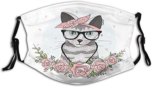 hangong Fillter Face - Collar con diseño de gato con gafas y flores, diseño de gatito, multicolor