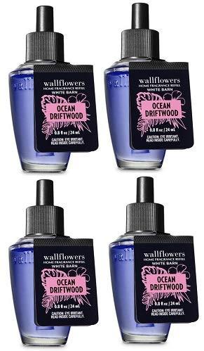 Bath and Body Works 4 Pack Ocean Driftwood Wallflowers Fragrance Refill. 0.8 Oz