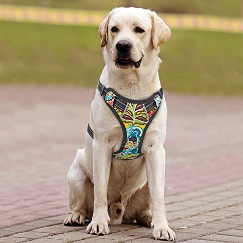 MDKAZ Arnés para Perros Arnés Nailon para Perros sin tirón arnés para Perros arneses para Cachorros Impresos Ajustables para Mascotas para Perros Regalo para Mascotas-XL,X-Large