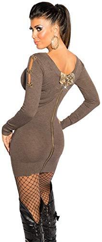 Firstclass Trendstore schönes Strickkleid mit Schleifen und Reißverschluß Gr. 34 36 38, Minikleid Abendkleid Longpullover Longpulli (900085...