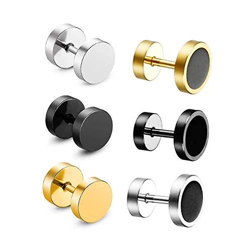 JZZJ - Juego de 4 pares de pendientes de tuerca de acero inoxidable de 10 mm para hombre(6 Pairs 8mm)