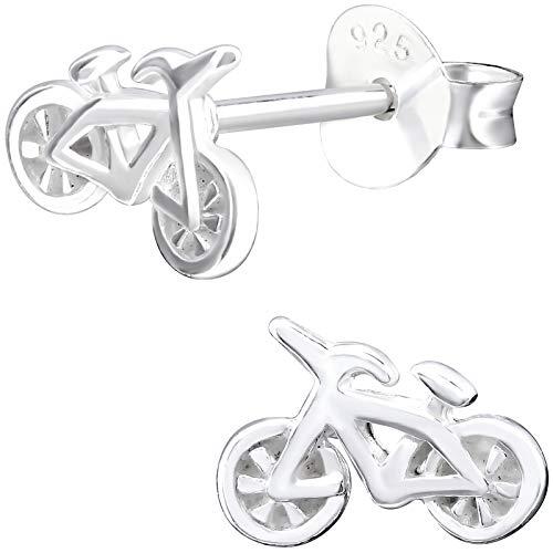 JAYARE Ohrringe Mädchen Fahrrad 925 Sterling Silber Bike Bikes Zweirad Kinder Ohrstecker Mädchenohrringe Kinderohrstecker