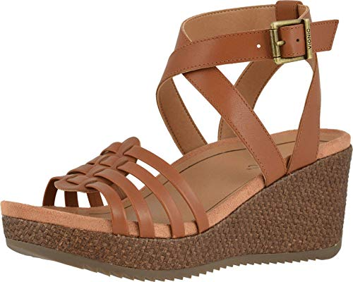 Vionic Women's Clarisa Raffia Wedges - Ladies Wedge Sandals with Concealed Orthotic Arch Support Cognac 9 Medium US