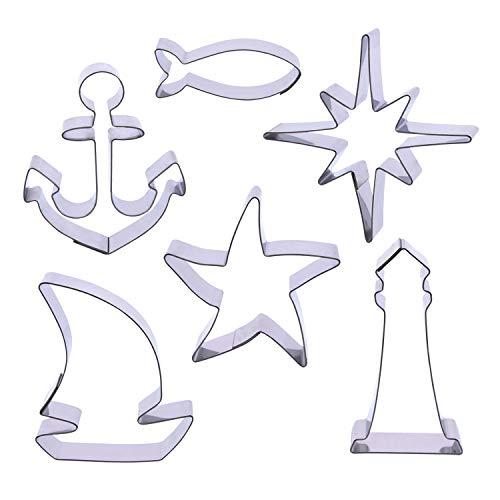 Der-Ideen-Shop 1 Keksausstecher Set AHOI | Leuchtturm | Anker | Fisch | Segelboot | Seestern | Kompassstern