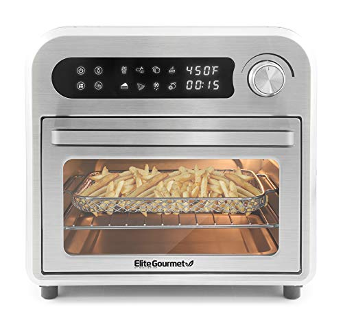 Elite Gourmet Maxi-Matic EAF1010D Programmable 10L Fryer Convection Countertop Oven Temperature  Timer Controls Bake Toast Broil Air Fry 105 Qt Stainless Steel