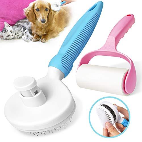 Gvoo Cepillo Perros y Gatos,Peine Limpiador para Pelo Largo y Corto con un Rodillo Quitapelusas Mascotas,Removedor de Pelo para Mascotas