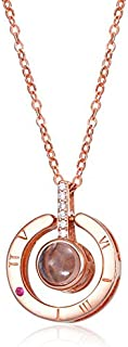 I Love You Necklace 100 Different Languages Projection Necklace for Women Rose Gold