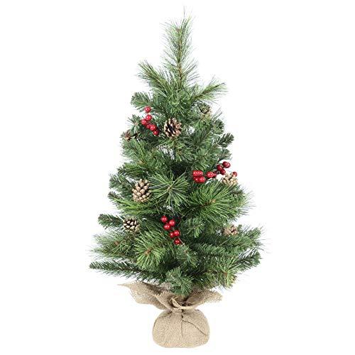 Mr Crimbo Árbol de Navidad de Escritorio de 60 cm Decorado con Conos de Pino Bayas de arpillera, Base de poliéster, Neutro, Talla única