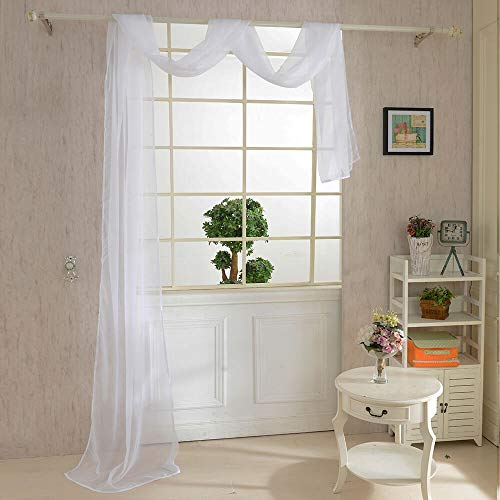 WUBODTI White Sheer Window Scarf Valance Curtains Voile Window Treatments Swag Valances Drapes and Curtains for Bedrroom Living Room Windows Wedding Baby Shower Party 216 Inch Length