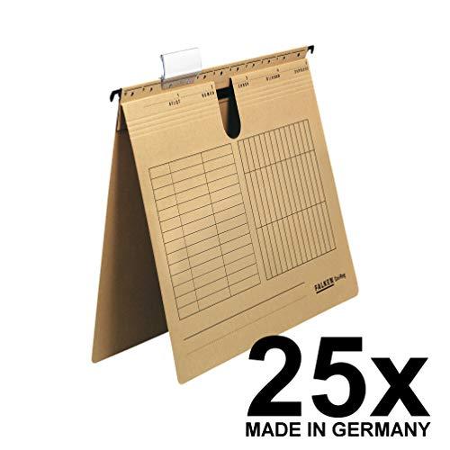 Original Falken 25er Pack Hängehefter UniReg. Made in Germany. Behördenheftung, aus Recycling-Karton für DIN A4 braun Blauer Engel ideal für die lose Blatt-Ablage im Büro und der Behörde