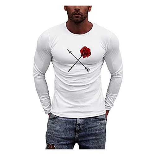 Xmiral Maglietta Uomo Manica Lunga Classic Crew Neck Casual Long-Sleeve Maglia T-Shirt Felpa T-Shirt Uomo Slim Casual O Collo Bottone Stampato Manica Lunga Camicetta (XXL,6bianca)