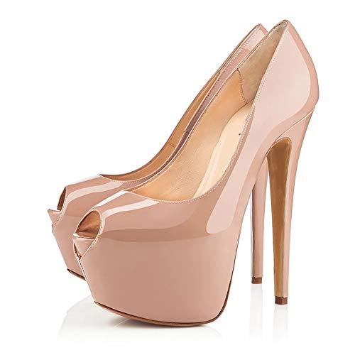 WMZQW Mujer Plataforma Peep Toe Tacón Aguja Party Zapatos de Boda Novia...