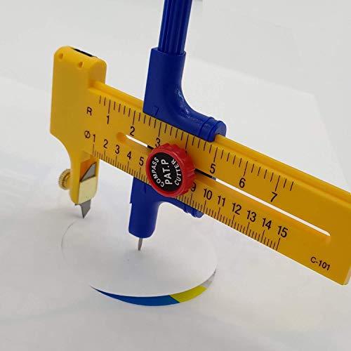 コンパスカッター サークル円切りカッター (1cm~15cm 対応) 替え刃6枚付属