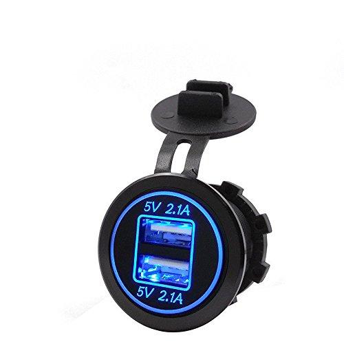 SODIAL 5V 4.2A Fiche d'adaptateur avec Double Chargeur USB Fiche de Courant pour la Moto de Voiture de 12V 24V (Bleu)