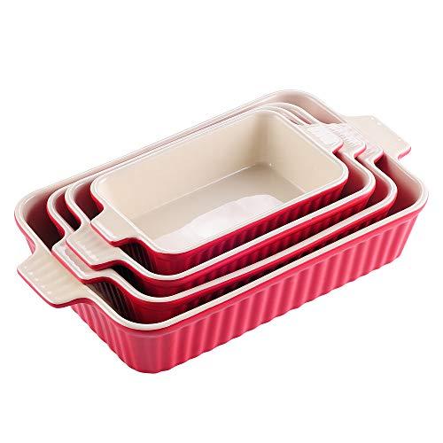 MALACASA 4pcs Plat à Four Porcelaine Plat Cuisson Lasagne Poisson Plats Rôtir Ramequin à Gratin avec Poignée Assiette Soupe Bol 9'+11'+12'+13,3' (Rouge)