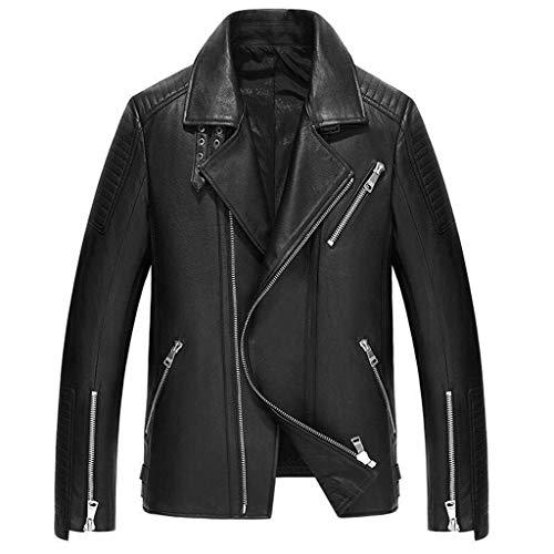 Chaquetas motocicletas para hombres,Abrigo corta corta cuero de solapa Abrigo de piel de becerro casual de invierno,Black-L