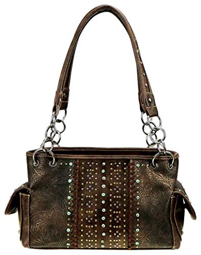 Womens Embossed Vegan Leather Handbag Concealed Carry Purse Large Studded Satchel