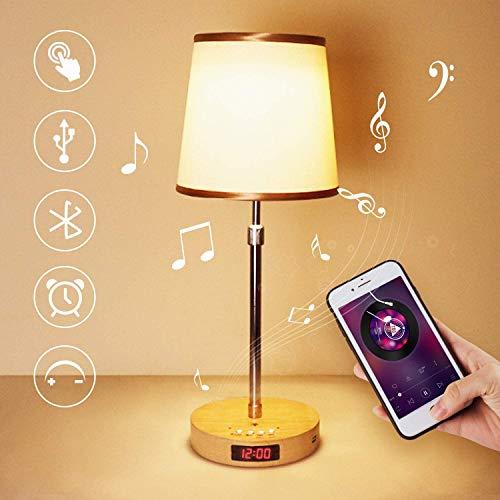 lampada da tavolo con Altoparlante Bluetooth, LED Abat Jour da Comodino,Vintage Lampada Comodino Camera da Letto con Porta USB,Lampada da Scrivaniaper Salotto