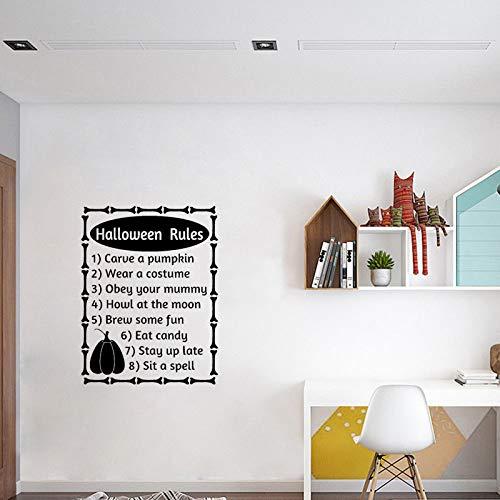 JXMN Halloween Regeln Wort Buchstaben Herbst Halloween Art Deco PVC Wandaufkleber 56 cm * 73,6 cm