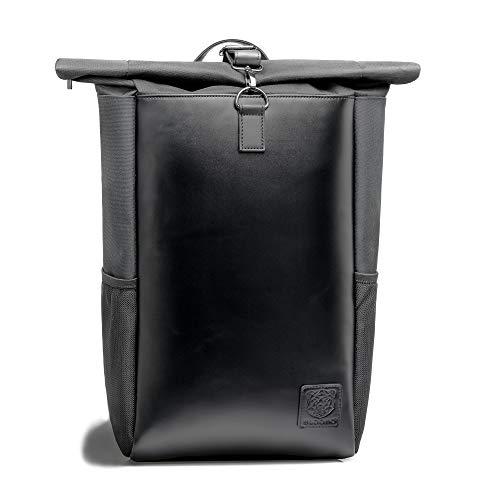 WLDOHO® Roll Top rugzak met robuuste metalen karabijnhaak I doordacht met laptopvak voor universiteit, reizen of vrije tijd I rugzak dames I rugzak heren
